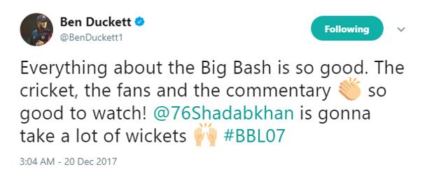BenDuckett Tweet - Shadab Khan