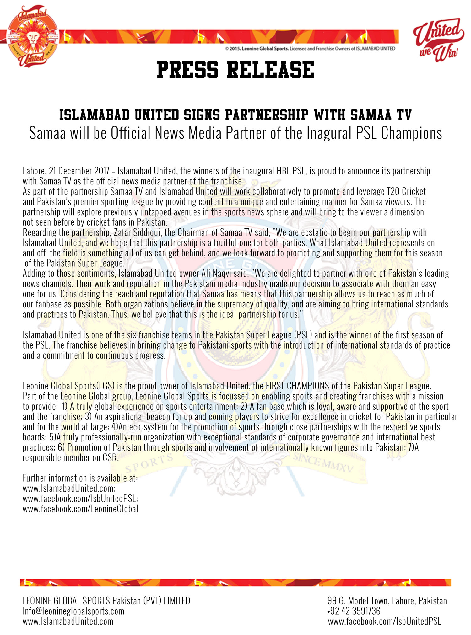 Press Release: Islamabad United announces Samaa TV as it\'s official ...